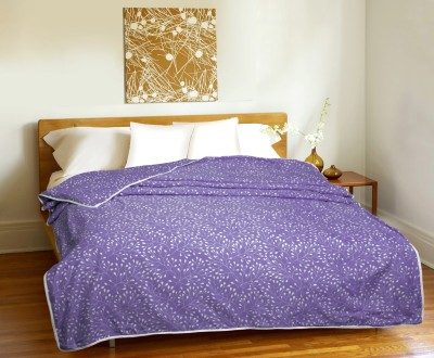 CURL UP Printed Single Dohar Purple, White