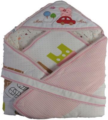 MeeMee Cartoon Single Hooded Baby Blanket Pink