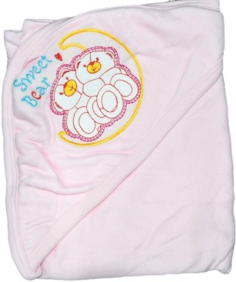 Mama & Bebe Embroidered Double Hooded Baby Blanket Pink