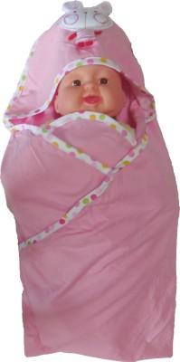 Bornbabykids Plain Single Hooded Baby Blanket Pink
