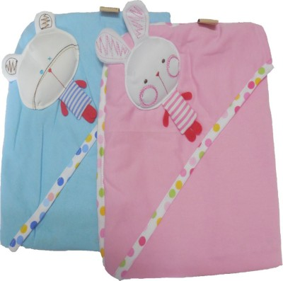 Bornbabykids Plain Single Hooded Baby Blanket Pink, Blue