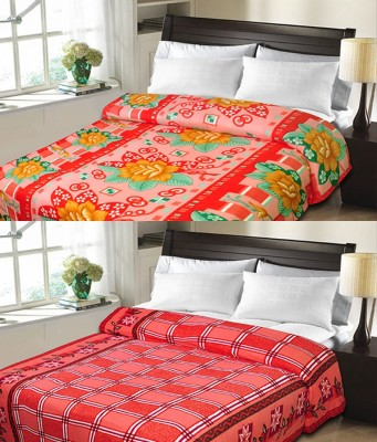Sanvi Traders Checkered Double Blanket Red