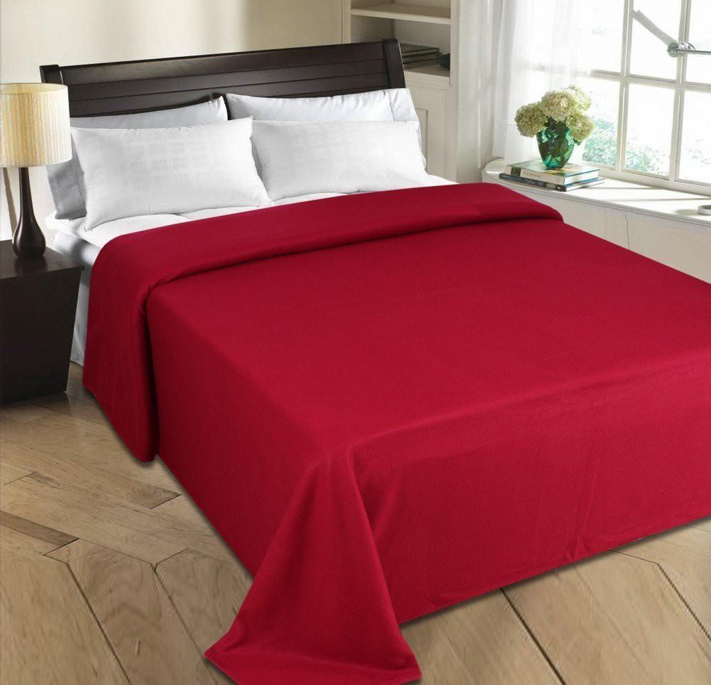 Super India Plain Double Blanket Red(Fleece Blanket, Blanket)