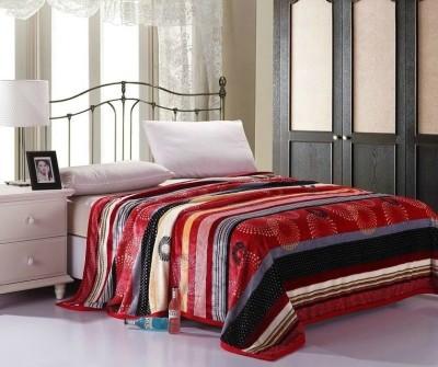 Wrap Striped Single Blanket Red