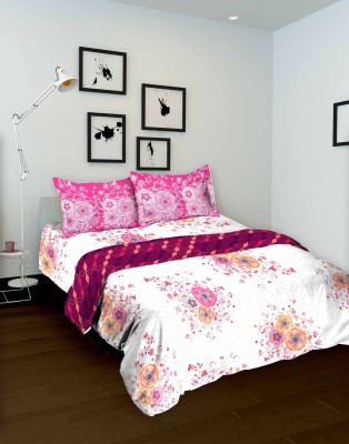 Tomatillo Floral Double Quilts & Comforters White, Pink
