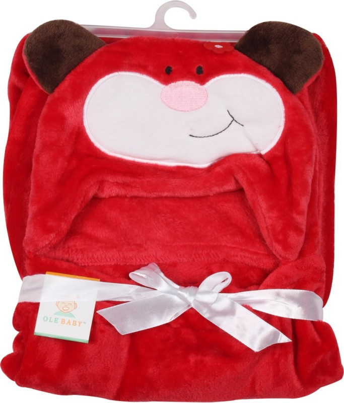 Ole Baby Plain Single Blanket Red(1 Ole Baby Hooded Mink Blanket)