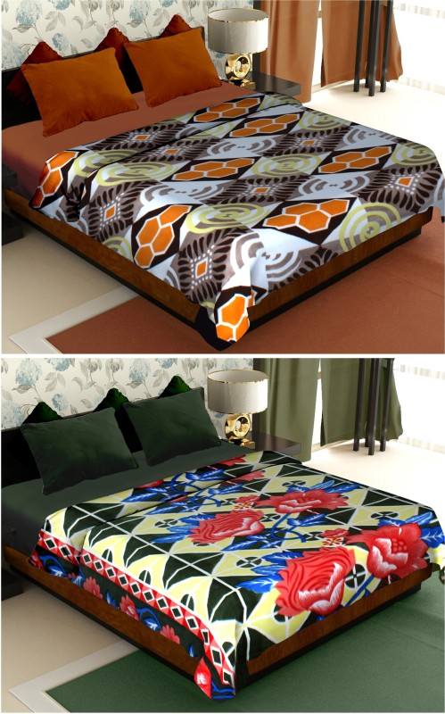Story@home Floral Double Blanket Brown(2 Pc Blanket)