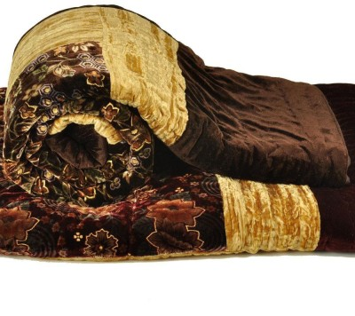 Shreemangalammart Floral Double Quilts & Comforters Coffee Brown
