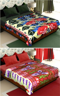 Story@home Floral Double Blanket Black(2 Pc Blanket)