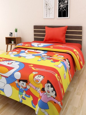 Homefab India Cartoon Single Top Sheet Multicolor