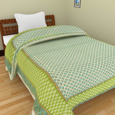Shra Floral Single Quilts & Comforters Green