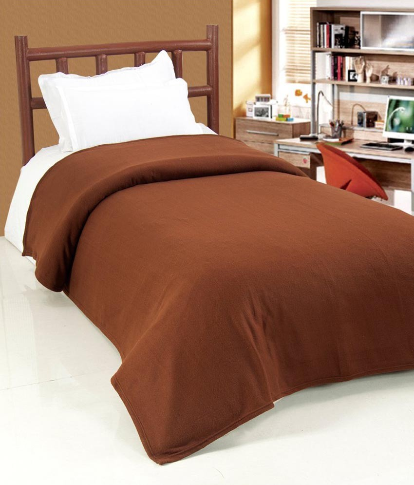 GOYALFASHIONS Plain Single Blanket Brown(Fleece Blanket)