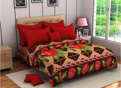 Zyne Floral Double Blanket Brown