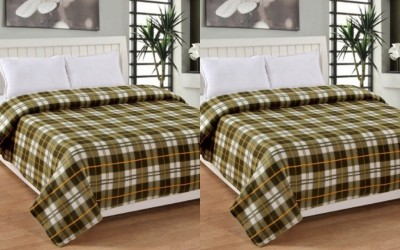 Shopgalore Checkered Single Blanket Green