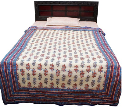 Jaipur Raga Floral Single Quilts & Comforters Sky Blue
