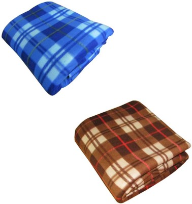 Pasricha Handlooms Checkered Double Blanket Blue, Brown