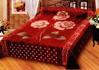 Decor Floral Double Blanket Red