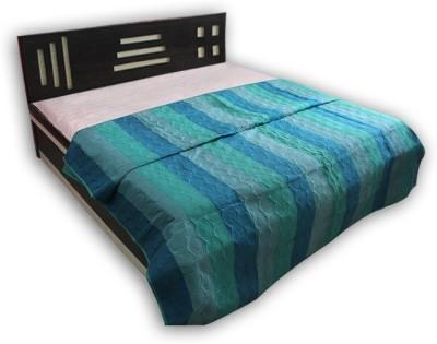 Handicrunch Striped Double Quilts & Comforters Dark Blue