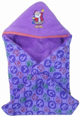 Brandonn Checkered Single Hooded Baby Blanket Purple