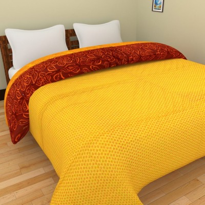 The Ethnic Story Floral Double Quilts & Comforters Yellow