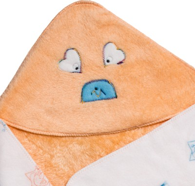 Utc Garments Cartoon Single Hooded Baby Blanket Orange, Blue, Green