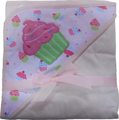 BornBabyKids Printed Single Hooded Baby Blanket Pink