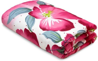 Bright Cotton Floral Double Blanket, Dohar White, Pink