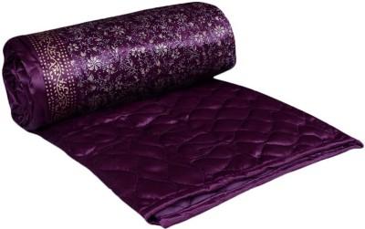 OM PRINTS Self Design Double Quilts & Comforters Purple