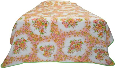 Indian Rack Floral Single Dohar, Quilts & Comforters White, Pink, Peach