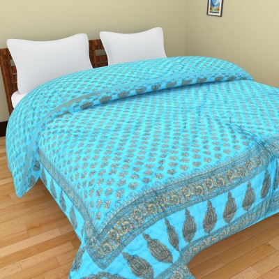 Shra Floral Double Quilts & Comforters Light Blue, Gold