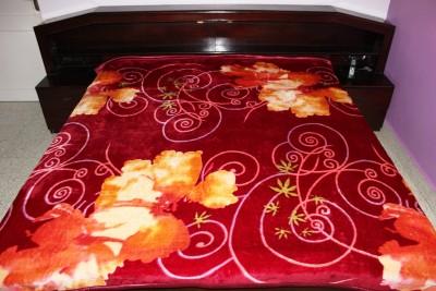 Recron Certified Floral Double Blanket Maroon