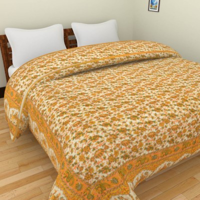 Rajkruti Floral Double Quilts & Comforters Yellow
