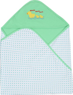 Lula Embroidered Crib Hooded Baby Blanket Green