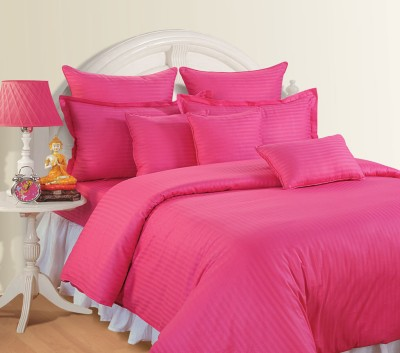 Swayam Striped Double Quilts & Comforters Pink