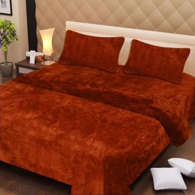 Excel Bazaar Plain Double Blanket Orange