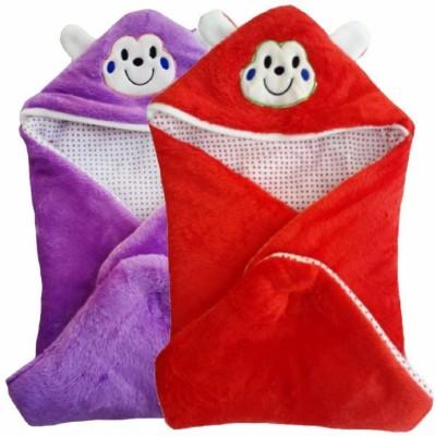 Brandonn Abstract Single Hooded Baby Blanket Purple, Red
