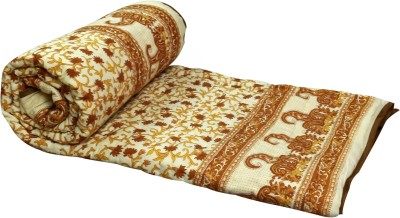 Buy Clues Floral Single Quilts & Comforters Brown