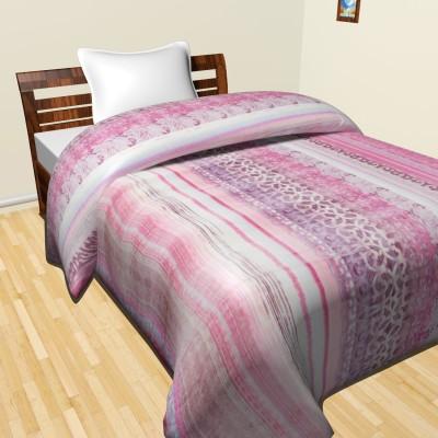 Krishnam Striped Double Duvet Pink