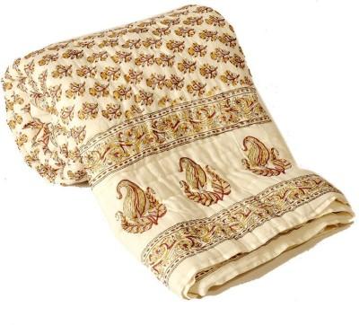 Sovam International Floral Double Blanket Beige