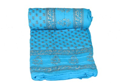 Chhipa Prints Floral Single Quilts & Comforters Light Blue