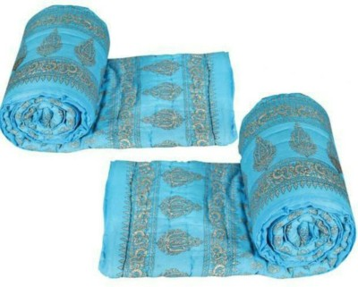 Ndecor Floral Double Quilts & Comforters Sky Blue