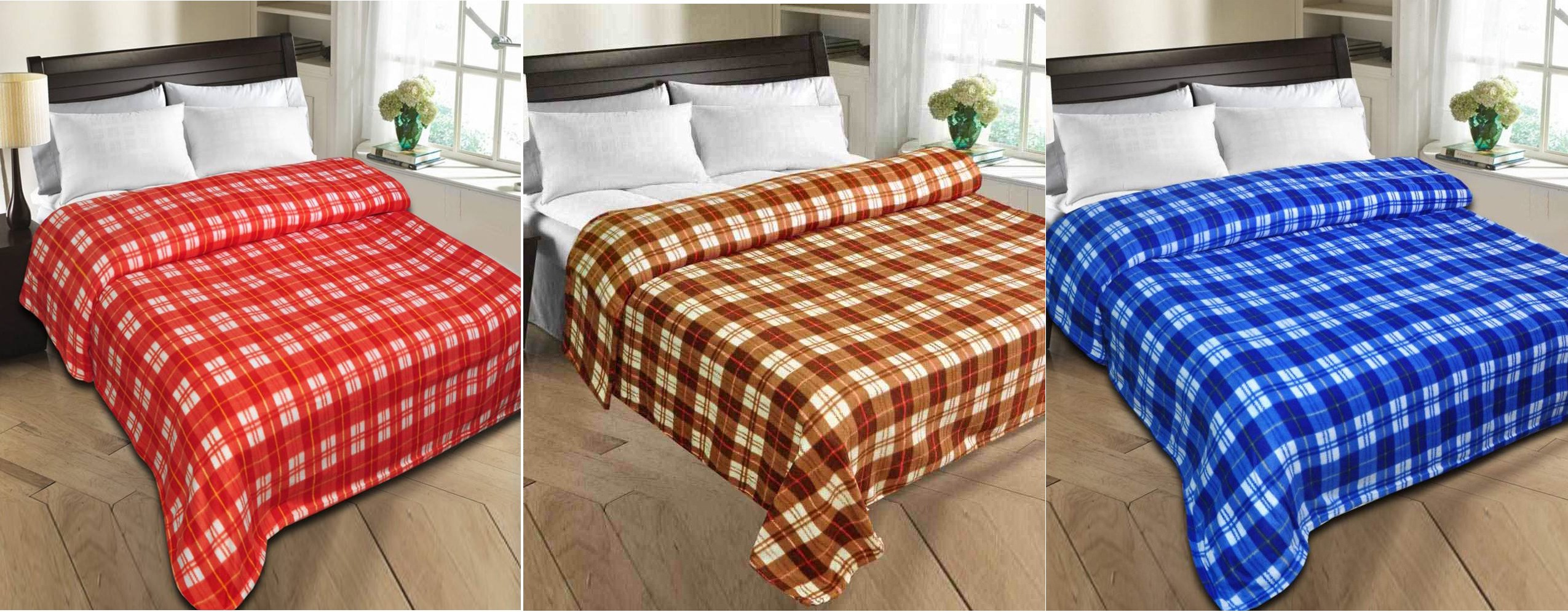 Styletex Checkered Single Blanket Red, Brown, Blue(Fleece Blanket, 1 Blue 1 Brown 1 Red Blankets)