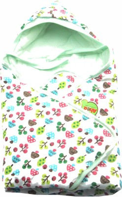 Ahad Printed Single Hooded Baby Blanket Mint Green