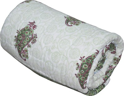 Rajcrafts Floral Double Blanket White