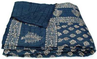 Marwal Floral Double Quilts & Comforters Dark Blue