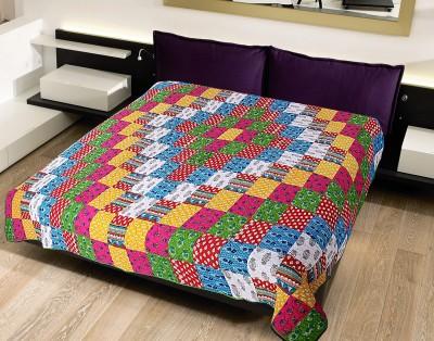 Krishnam Abstract Double Blanket Green, Multicolor