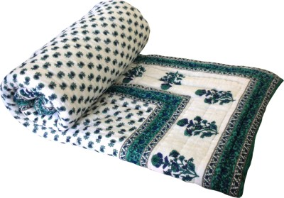 Artisan Creation Floral Double Quilts & Comforters Green, Blue, White