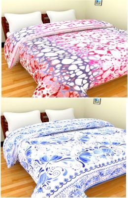 Feathers Self Design Double Blanket Multicolor