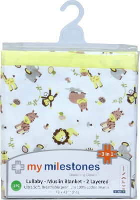 My Milestones Animal Single Swadding Baby Blanket Yellow