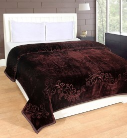 Shivamconcepts Floral Double Blanket Brown